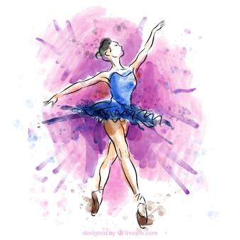 Met de hand geschilderd balletdanser