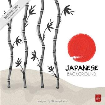 Met de hand geschilderd bamboe japanse achtergrond