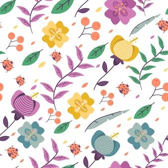 Met de hand geschilderd exotisch bloemenpatroon