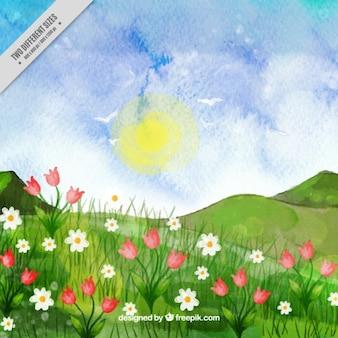 Met de hand geschilderd landschap