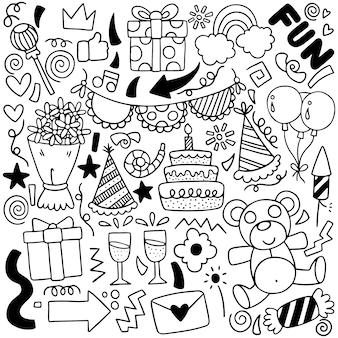 Met de hand geschilderd patroon van verjaardagsornamenten