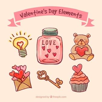 Met de hand geschilderd valentijnsdag elementen