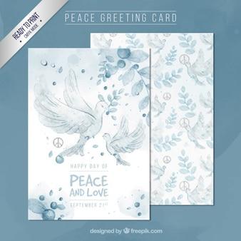 Met de hand geschilderd vrede wenskaart