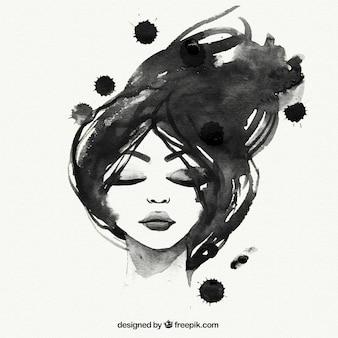 Met de hand geschilderd zwarte vrouw