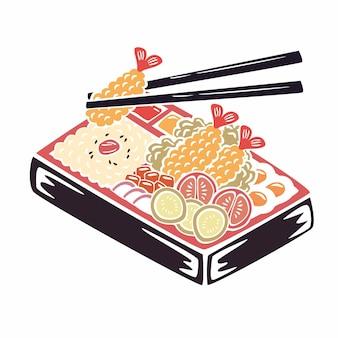 Met de hand geschilderde bento box illustratie