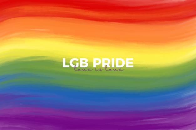 Met de hand geschilderde lgb-trotsachtergrond met citaat liefde is liefde