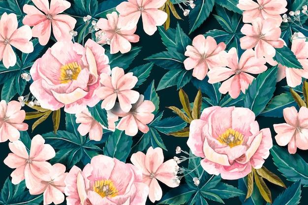 Met de hand geschilderde realistische bloemenachtergrond