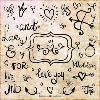 Met de hand geschreven leuzen van de bruiloft en decoratie