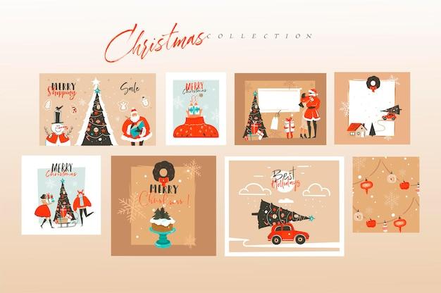 Met de hand getekend abstract leuk vrolijk kerstfeest en gelukkig nieuwjaar tijd cartoon kaarten bundel set