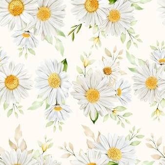Met de hand getekend aquarel bloemen naadloos patroon