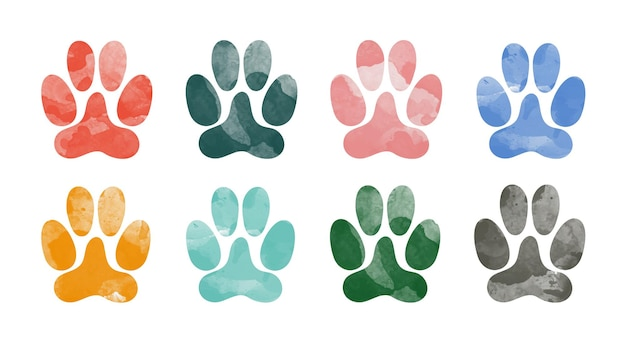 Met de hand getekend aquarel dierlijke voetafdrukken silhouet van een pootafdruk