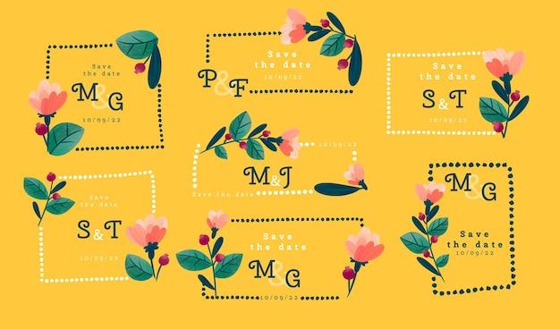 Met de hand getekend bloemenmonogram bewaar de datumset