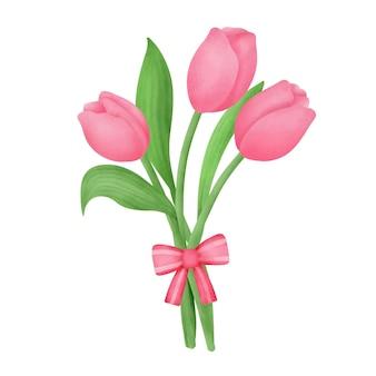 Met de hand getekend boeket tulpen