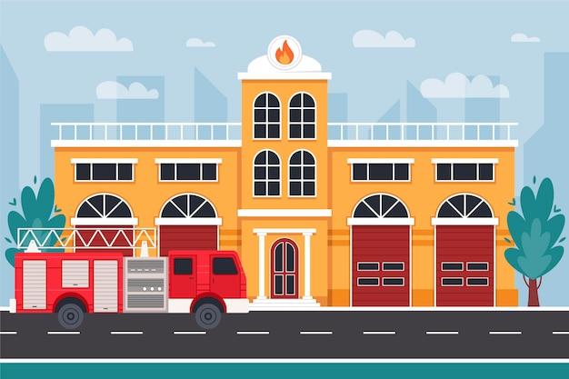 Met de hand getekend brandweerkazernegebouw geïllustreerd