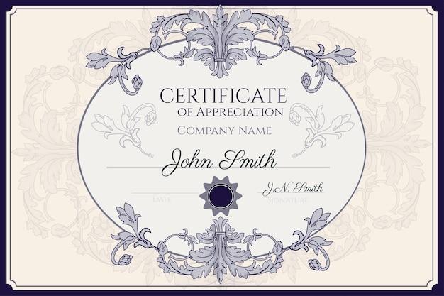 Met de hand getekend certificaat van waardering