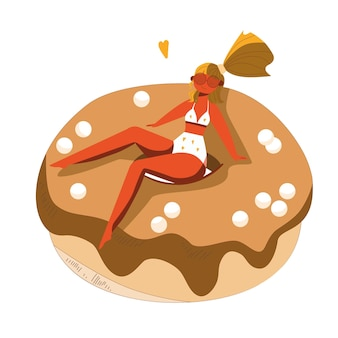 Met de hand getekend jong meisje zonnebaadt in een zwempak en een bril op donuts