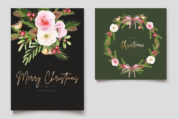Met de hand getekend kerstmisontwerp met bloemen