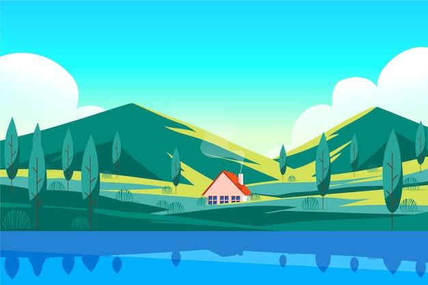 Met de hand getekend landschap van het meerhuis