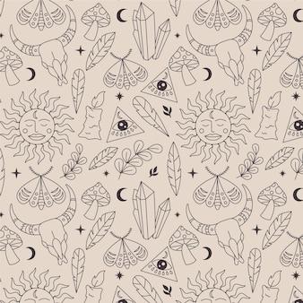 Met de hand getekend lineair boho-patroon