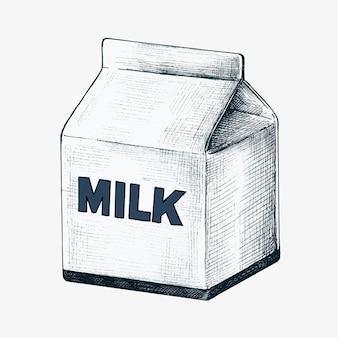 Met de hand getekend pak melk