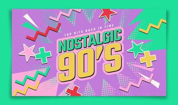 Met de hand getekend plat ontwerp nostalgische youtube-thumbnail uit de jaren 90