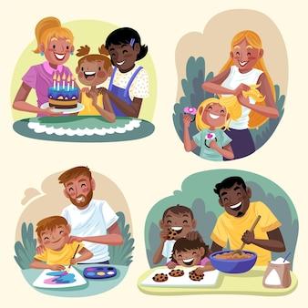 Met de hand getekend plat ontwerp van familiescènes
