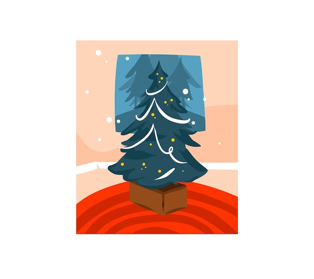 Met de hand getekend prettige kerstdagen en gelukkig nieuwjaar cartoon feestelijke kaart met leuke illustraties