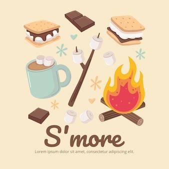 Met de hand getekend s'mores-dessert geïllustreerd