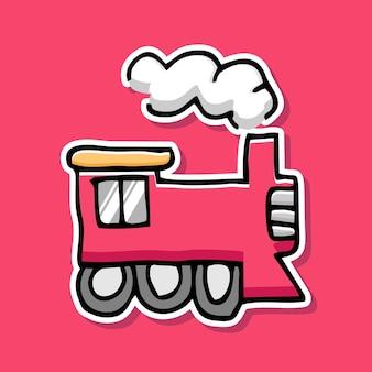 Met de hand getekend treincartoonontwerp