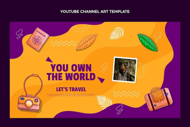 Met de hand getekend youtube-kanaal voor reizen