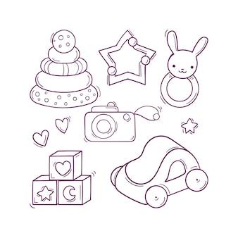 Met de hand getekend zwart-wit babyspeelgoed in doodle-stijl