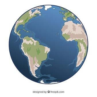 Met de hand getekende aarde wereldbol