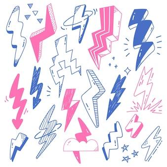Met de hand getekende abstracte doodles van bliksemschichtwolk en ster vectorontwerpelement
