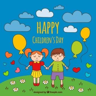 Met de hand getekende achtergrond met kinderen bedrijf ballonnen