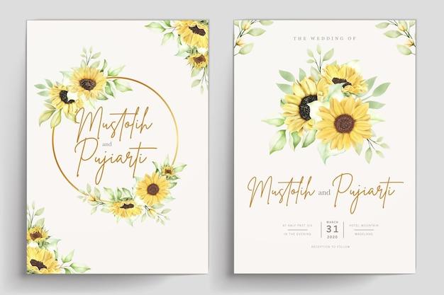 Met de hand getekende aquarel bloemen uitnodigingskaart set