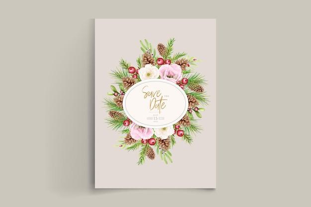 Met de hand getekende bloemen kerst achtergrond set