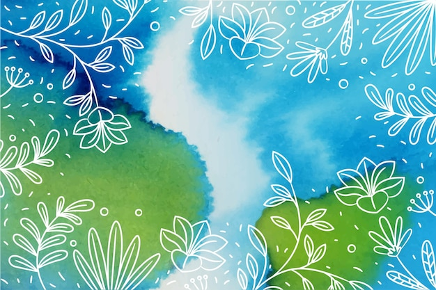 Met de hand getekende bloemenachtergrond