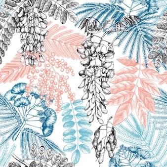 Met de hand getekende bomen in bloemen vintage patroon