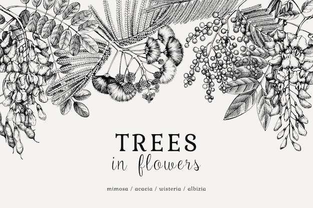 Met de hand getekende bomen in bloemen.