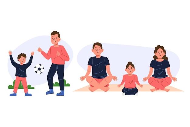 Met de hand getekende familiescènes geïllustreerd