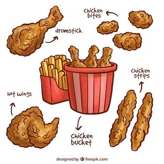 Met de hand getekende gebakken kippensoorten