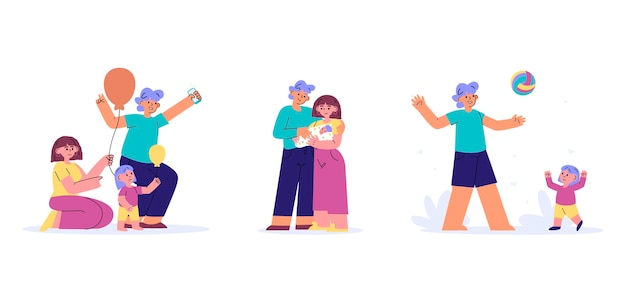 Met de hand getekende geïllustreerde familiescènes
