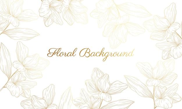 Met de hand getekende gouden bloemenachtergrond
