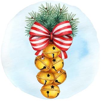 Met de hand getekende jingle bells-decoratie met waterverf