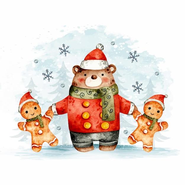 Met de hand getekende kerstbeer en peperkoek