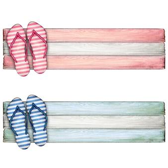 Met de hand getekende kleurrijke slippers