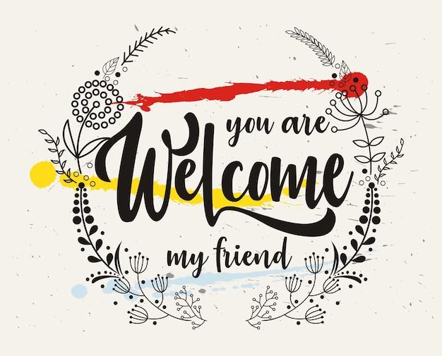 Met de hand getekende letters bent u welkom