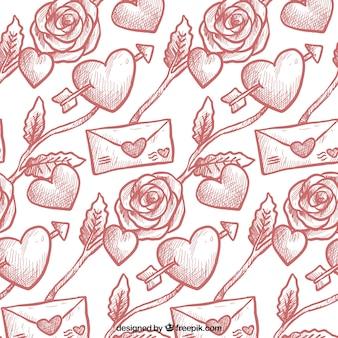 Met de hand getekende patroon met hartjes en enveloppen voor valentijnsdag