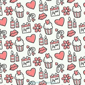 Met de hand getekende patroon met objecten valentijnsdag