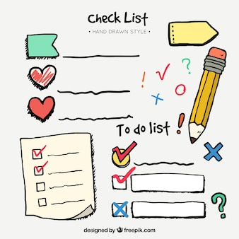 Met de hand getekende set checklist en decoratieve elementen